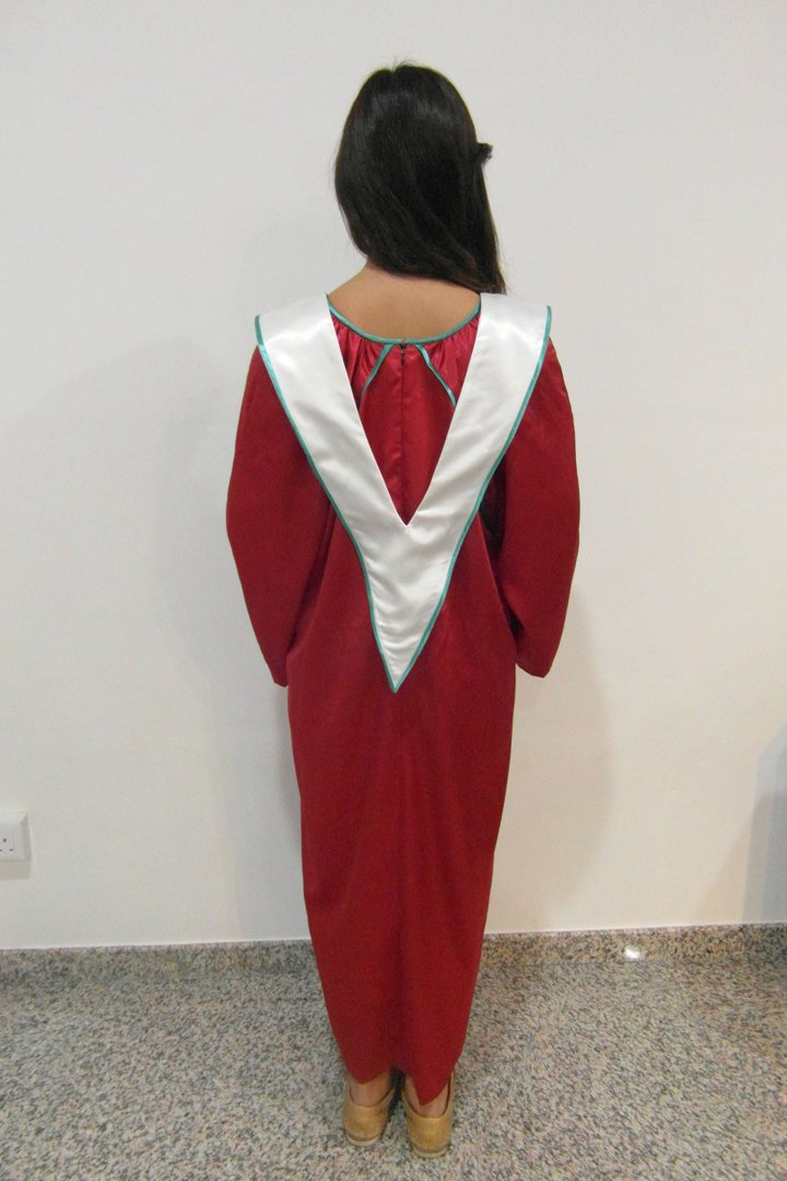 Red Colour With White Colour V Neck Choir Robes